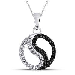 0.10 CTW Black Color Enhanced Diamond Ying Yang Circle Pendant 10kt White Gold