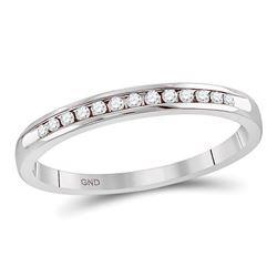 0.10 CTW Diamond Single Row Channel-set Wedding Ring 14kt White Gold