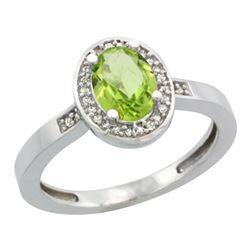 1.15 CTW Peridot & Diamond Ring 14K White Gold