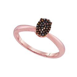 0.11 CTW Red Color Enhanced Diamond Oval Cluster Ring 10kt Rose Gold