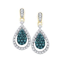 0.63 CTW Blue Color Enhanced Diamond Teardrop Dangle Earrings 10kt Rose Gold