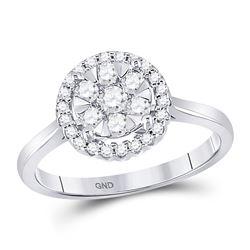 0.52 CTW Diamond Halo Flower Cluster Ring 10kt White Gold