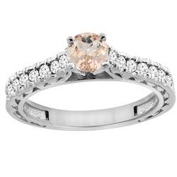 0.74 CTW Morganite & Diamond Ring 14K White Gold