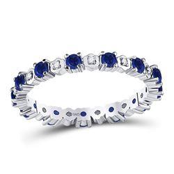 0.96 CTW Blue Sapphire Diamond Eternity Ring 10kt White Gold