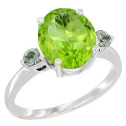3.02 CTW Peridot & Green Sapphire Ring 10K White Gold