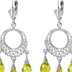 Genuine 3.75 ctw Peridot Earrings 14KT White Gold