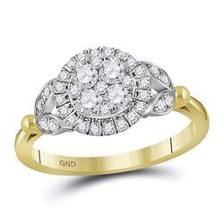 0.72 CTW Diamond Cluster Bridal Wedding Engagement Ring 14kt Yellow Gold