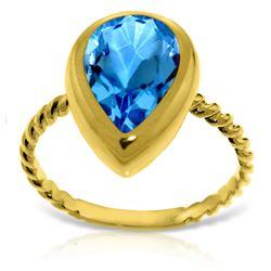 Genuine 4 ctw Blue Topaz Ring 14KT Yellow Gold