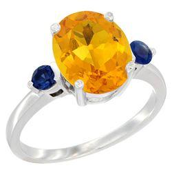 2.64 CTW Citrine & Blue Sapphire Ring 10K White Gold