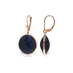 Genuine 46 ctw Sapphire Earrings 14KT Rose Gold