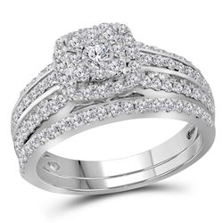 1 CTW Diamond Double Halo Bridal Wedding Engagement Ring 14kt White Gold