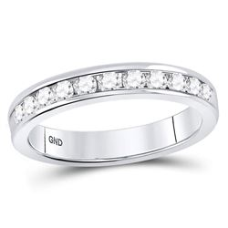 0.50 CTW Machine Set Diamond Wedding Channel Ring 14kt White Gold