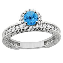 0.91 CTW Swiss Blue Topaz & Diamond Ring 14K White Gold