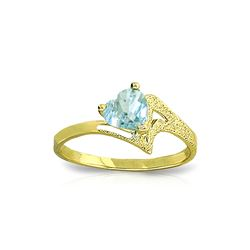 Genuine 0.95 ctw Aquamarine Ring 14KT Yellow Gold