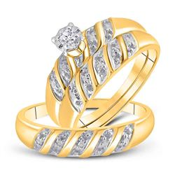 0.05 CTW Diamond Solitaire Matching Bridal Wedding Ring 10kt Yellow Gold