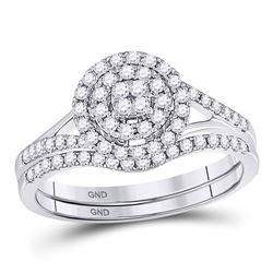 0.48 CTW Diamond Cluster Bridal Wedding Engagement Ring 14kt White Gold