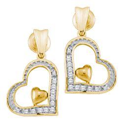 0.10 CTW Diamond Heart Dangle Screwback Stud Earrings 10kt Yellow Gold