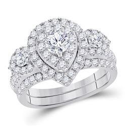 1.50 CTW Diamond Bridal Wedding Engagement Ring 14kt White Gold