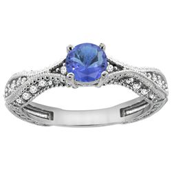 0.84 CTW Tanzanite & Diamond Ring 14K White Gold