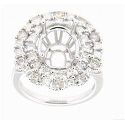 3.05 CTW Diamond Semi Mount Ring 18K White Gold
