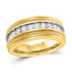 1 CTW Diamond Milgrain Wedding Ring 10kt Yellow Gold