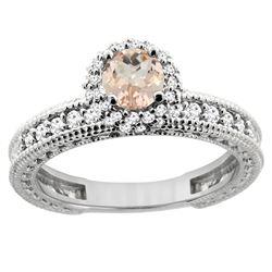 0.79 CTW Morganite & Diamond Ring 14K White Gold