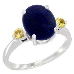 2.74 CTW Lapis Lazuli & Yellow Sapphire Ring 14K White Gold