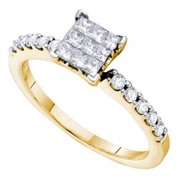 0.49 CTW Diamond Square Cluster Slender Ring 14kt Yellow Gold