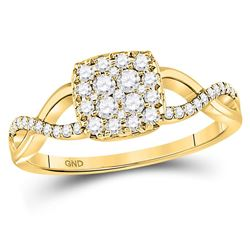 0.50 CTW Diamond Square Cluster Twist Ring 10kt Yellow Gold