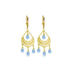Genuine 6.75 ctw Blue Topaz Earrings 14KT Yellow Gold