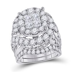 5.63 CTW Diamond Bridal Wedding Engagement Ring 14kt White Gold