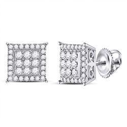 0.46 CTW Diamond Square Cluster Earrings 14kt White Gold
