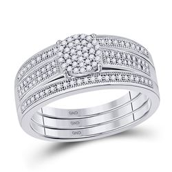 0.25 CTW Diamond Cluster Bridal Wedding Engagement Ring 10kt White Gold