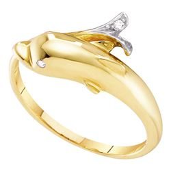 0.03 CTW Diamond Dolphin Fish Animal Wrap Ring 10kt Yellow Gold