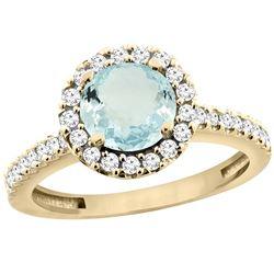 1.13 CTW Aquamarine & Diamond Ring 14K Yellow Gold