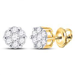 0.25 CTW Diamond Flower Cluster Earrings 14kt Yellow Gold