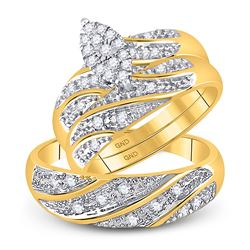 0.32 CTW Diamond Cluster Matching Bridal Wedding Ring 10kt Yellow Gold