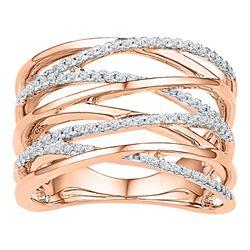 0.25 CTW Diamond Crossover Strand Fashion Ring 10kt Rose Gold