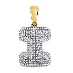 0.50 CTW Diamond Letter I Bubble Initial Charm Pendant 10kt Yellow Gold