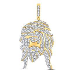 1.25 CTW Diamond Jesus Face Charm Pendant 10kt Yellow Gold
