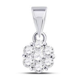 0.50 CTW Diamond Flower Cluster Pendant 14kt White Gold