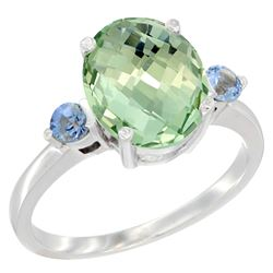 2.64 CTW Amethyst & Blue Sapphire Ring 10K White Gold