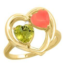 1.31 CTW Lemon Quartz & Diamond Ring 14K Yellow Gold