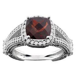 4.10 CTW Garnet & Diamond Ring 14K White Gold