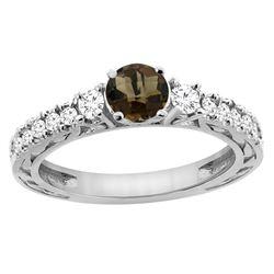 1.35 CTW Quartz & Diamond Ring 14K White Gold