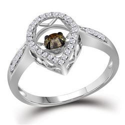 0.43 CTW Diamond Teardrop Moving Solitaire Ring 10kt White Gold