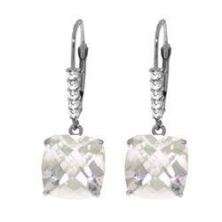 Genuine 7.35 ctw White Topaz & Diamond Earrings 14KT White Gold