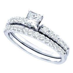 0.99 CTW Diamond Bridal Wedding Engagement Ring 14kt White Gold