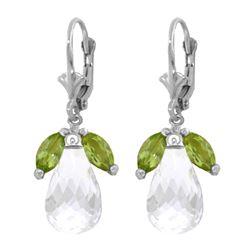 Genuine 14.4 ctw White Topaz & Peridot Earrings 14KT White Gold