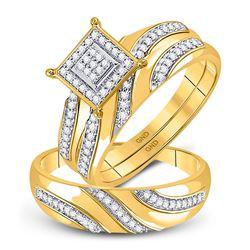 0.25 CTW Diamond Cluster Matching Bridal Wedding Ring 10kt Yellow Gold
